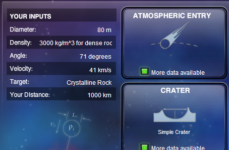 Simula el impacto de meteoritos